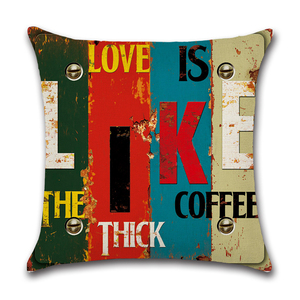 Image 4 - Mediterranean Punk Letters Printed Linen Cushion Cover for Bar Restaurant Living Room Home Kitchen Chair Decorative Pillows Case