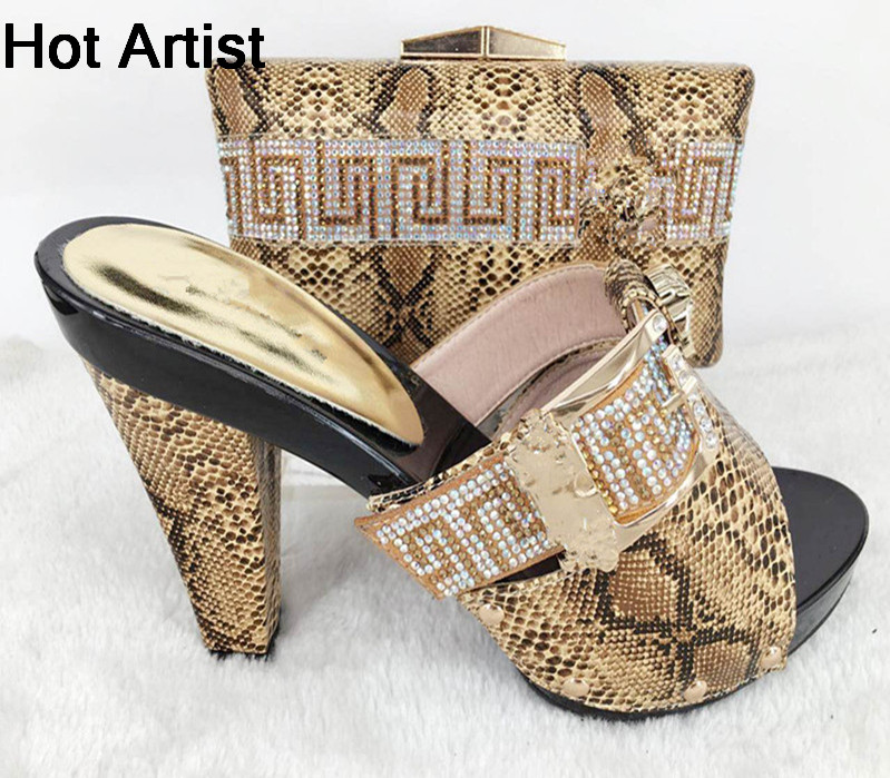 Hot Artist Italian Woman Shoes And Bags Set Africa Style High Heels Slipper Shoes And Bag Set For Party Dress Blue TYS17-22