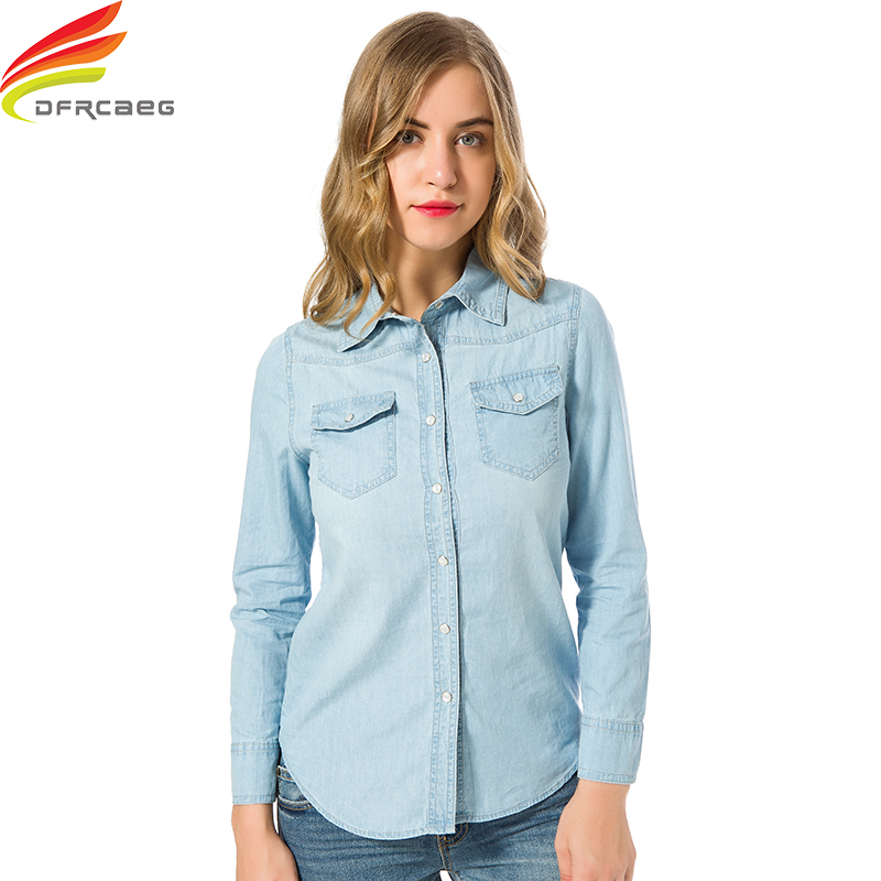 Denim   Shirt   Women Autumn 2019 Blue And Sky Blue Clothes Plus Size   Shirt   With Double Pockets Long Sleeve   Blouse   Elegant   Shirts