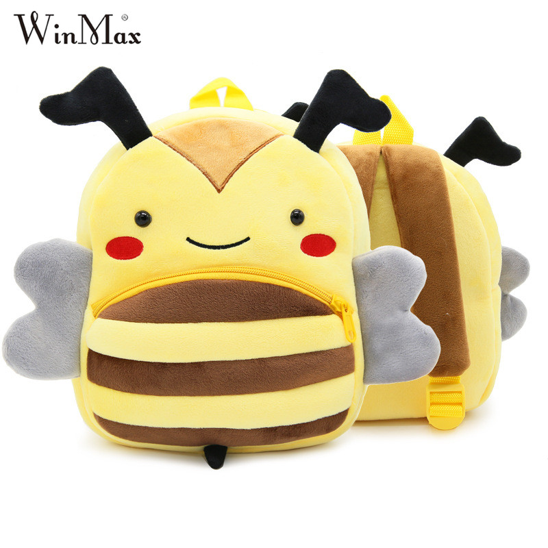 Winmax Cute Zoo Plush School Bags Girls Boys Cartoon Kindergarten Backpack Kids Animal Stuffed Toy Bag Infants panda dog giraffe