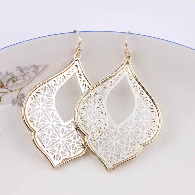 ZWPON 2018 New Graceful Arabesque Teardrop Dangle Earrings for Women Fashion Gold Filigree Heart Earrings Love Jewelry Wholesale