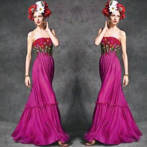 Parole À Fleur Femmes Les Robe La Élégant Pour Longue Broderie Soirée De Robe D'été Partie Mousseline Festa Soie Incroyable 1qawUUF