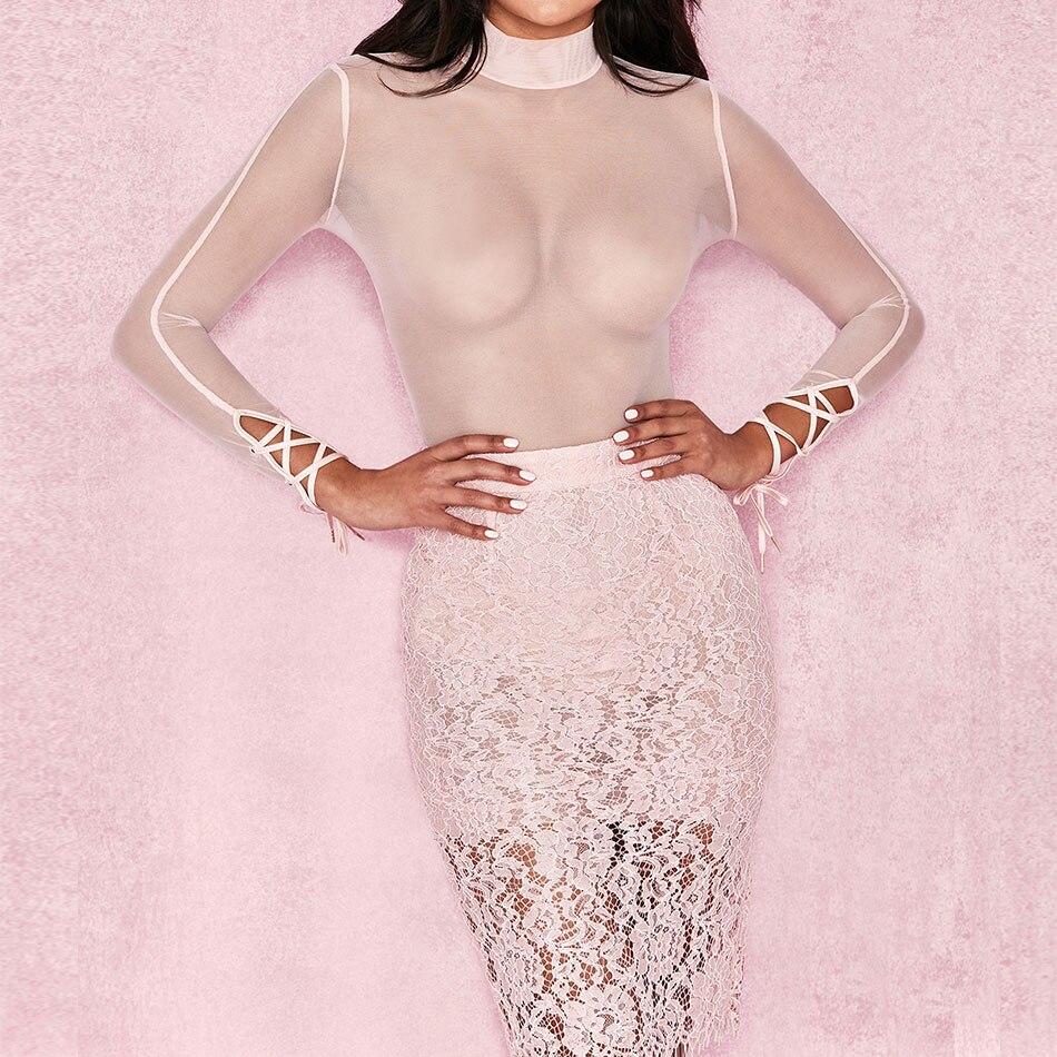 Di Estate Bodycon Manica Dressbird Dress Fasciatura Lunga Da Midi Dalla Dolcevita Pizzo A Maglia In Donna Pink Sexy Vestiti Partito Notte Delle Donne Vestido Del wpFwdqX4