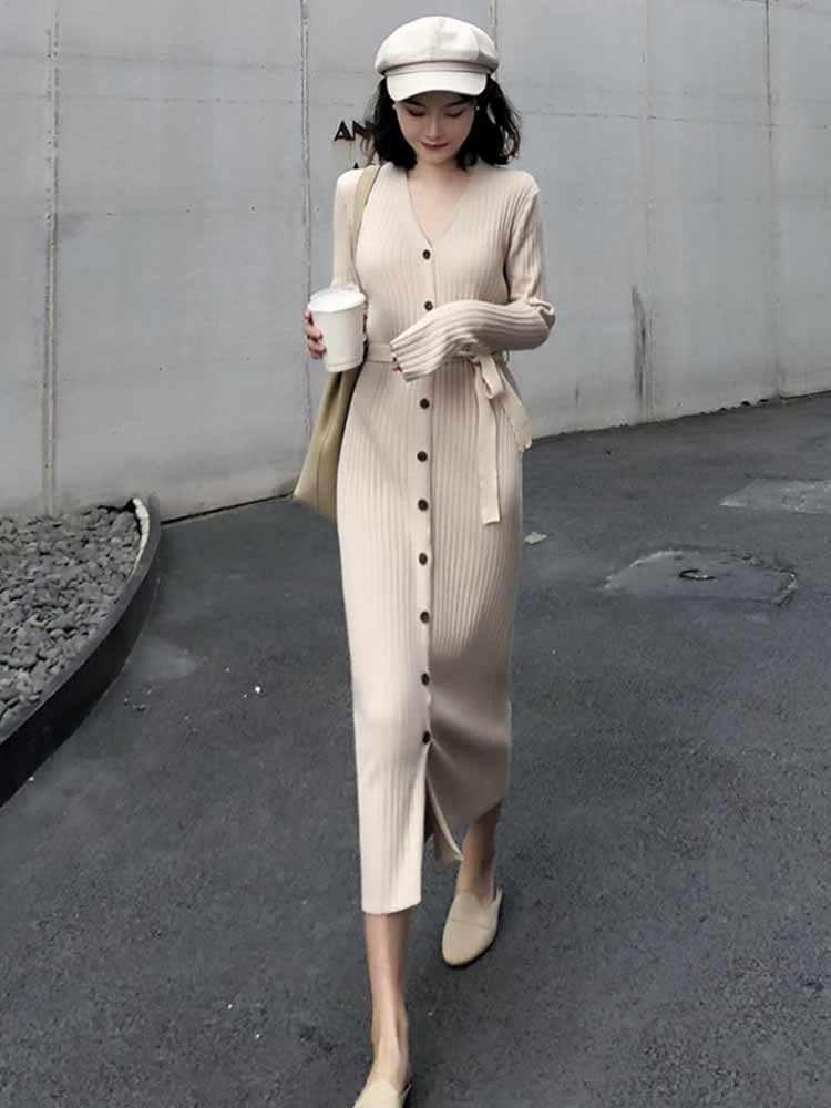 AYUNSUE Весна 2019 вязаное платье женское Элегантное Длинное Платье корейское осеннее черное платье-свитер Макси офисное платье KJ1710