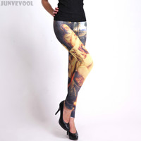 Oil Paiting Printed Leggings Colorful 3D Sexy Women Graphic Nude Lady Print Woman Casual Skinny Stretchy Pants Beauty of Eden XL