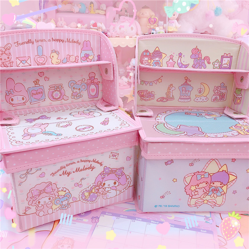 1pc Lovely My Melody Twin Stars Shelf Cinnamoroll Display Foldable Box Storage Doll Collection For Girls