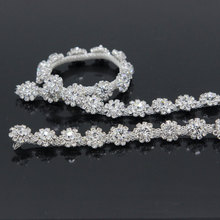 5Yards Crystal Silver Rhinestone Trim Glass Close Double Chain Sewing Sew On Cup Garment Accessories