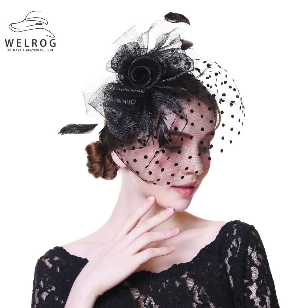 a5320a87707 Detail Feedback Questions about WELROG Women Fancy Sinamay Feather Party  Wedding Headwear Fascinators Veil Feather Dot Print Yarn Headband Hats With  Clips ...