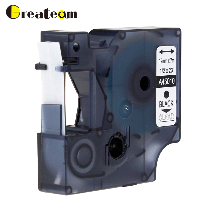 b153a9fb516 Greateam 1pcs 45010 Compatible Dymo D1 S0720500 45010 Label Tape Black on  Clear for Dymo Label