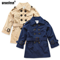 Boy Trench Coat Khaki Long Sleeves Double-breasted Outerwear Kids Windbreaker Children Trench Coat Navy Blue Jacket 3-10Y
