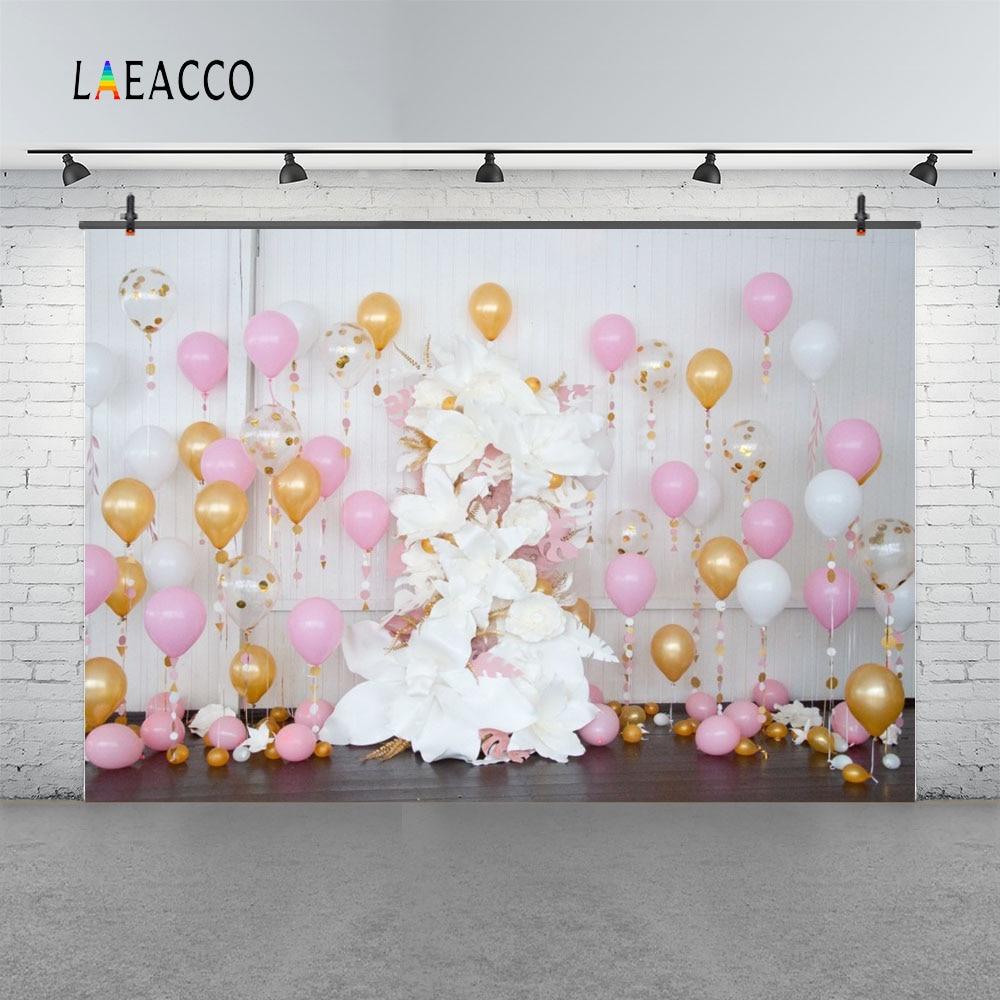 Globos de colores Laeacco Flores Fondo de fotografía de cumpleaños - Cámara y foto - foto 3