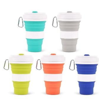 50pcs 550ml Folding Silicone 5 color Portable Silicone Telescopic Drinking Collapsible coffee cup folding silica cup wi