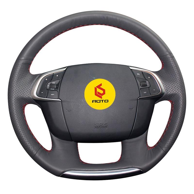 Main-couture Tresse sur le Couvercle du Volant pour Citroen C4 C4L 2011-2015 DS4 funda volante en cuir cas du volant