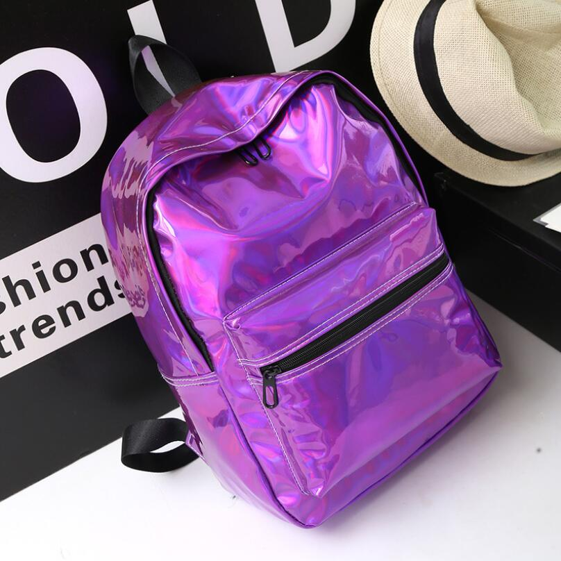 women backpack hologram laser backpacks girl school bag female simple silver bags leather holographic sac a main