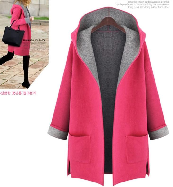 5xl plus big size coats women spring autumn winter 2017 feminina thin hooded red yellow cloth coat female A2469