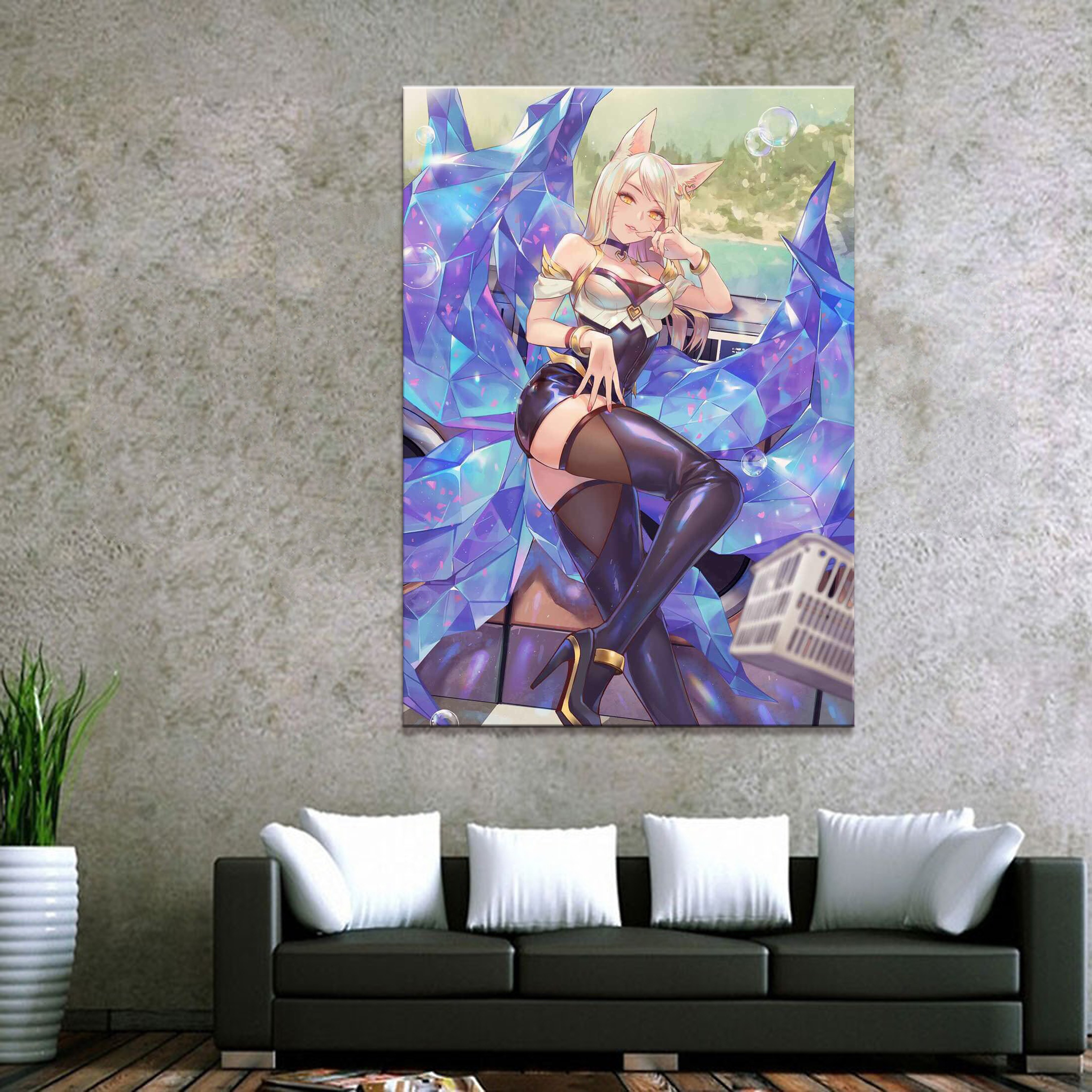 Home Decor Canvas League of Legends LOL Overwatch Game 1 Piece Sexy Ahri Art Poster Prints Picture Decoration Painting Wholesale