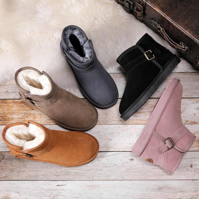 BONJOMARISA Yeni Kış Özlü Süper Sıcak Kar Botları Kadın Bölünmüş Deri Patik Kadın Platformu yarım çizmeler 2019 Ayakkabı Kadın
