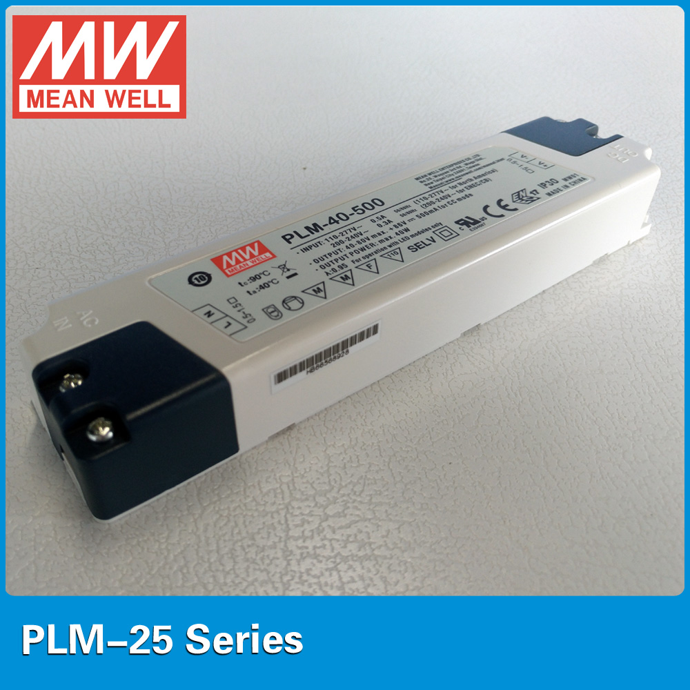 где купить Original MEAN WELL LED power supply PLM-25-500 25W 500mA with PFC for Indoor led lighting plastic case по лучшей цене