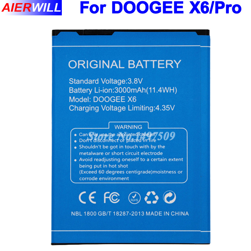For DOOGEE X6 Battery for DOOGEE X6 Pro Bateria Accumulator AKKU 3000mAh