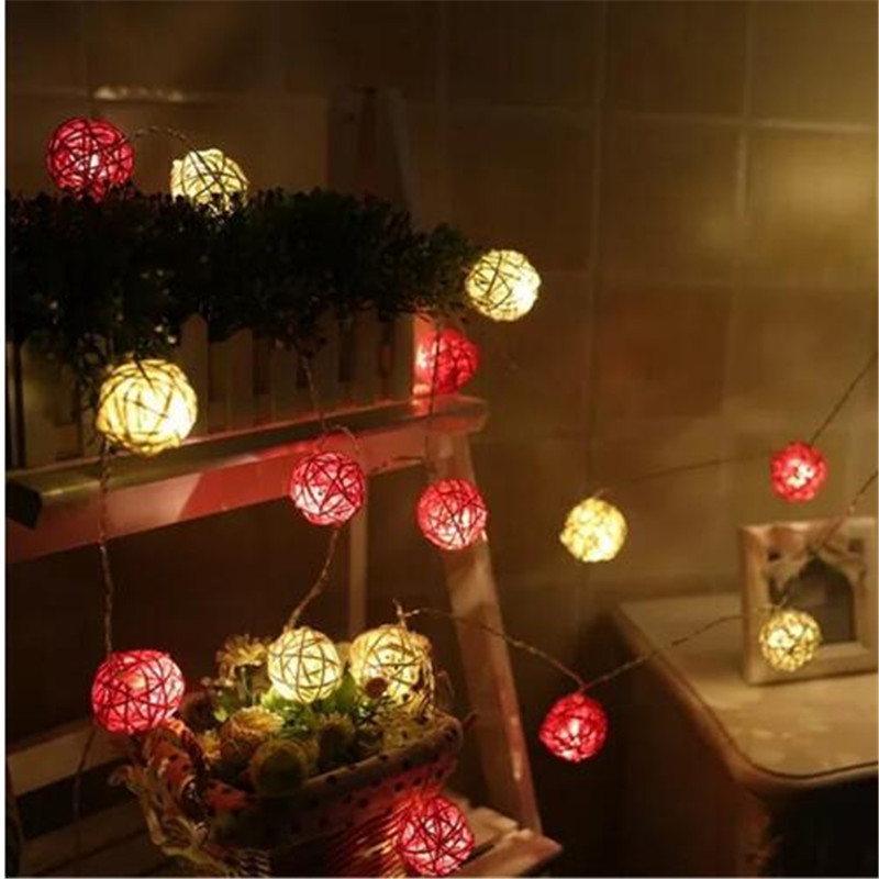 5M 28LEDs White Red Rattan Ball String Lights Xmas Lover Wedding Party holiday Bedroom Decorations Fairy Lamp Galands
