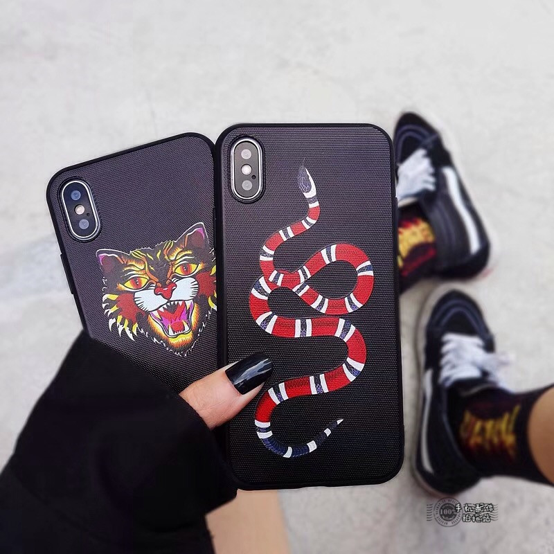 Fashion Tiger Snake Soft silicon cover case for iphone 6 6S S plus 7 7plus 8 8plus X 10 Black Animal Cat phone cases fundas capa