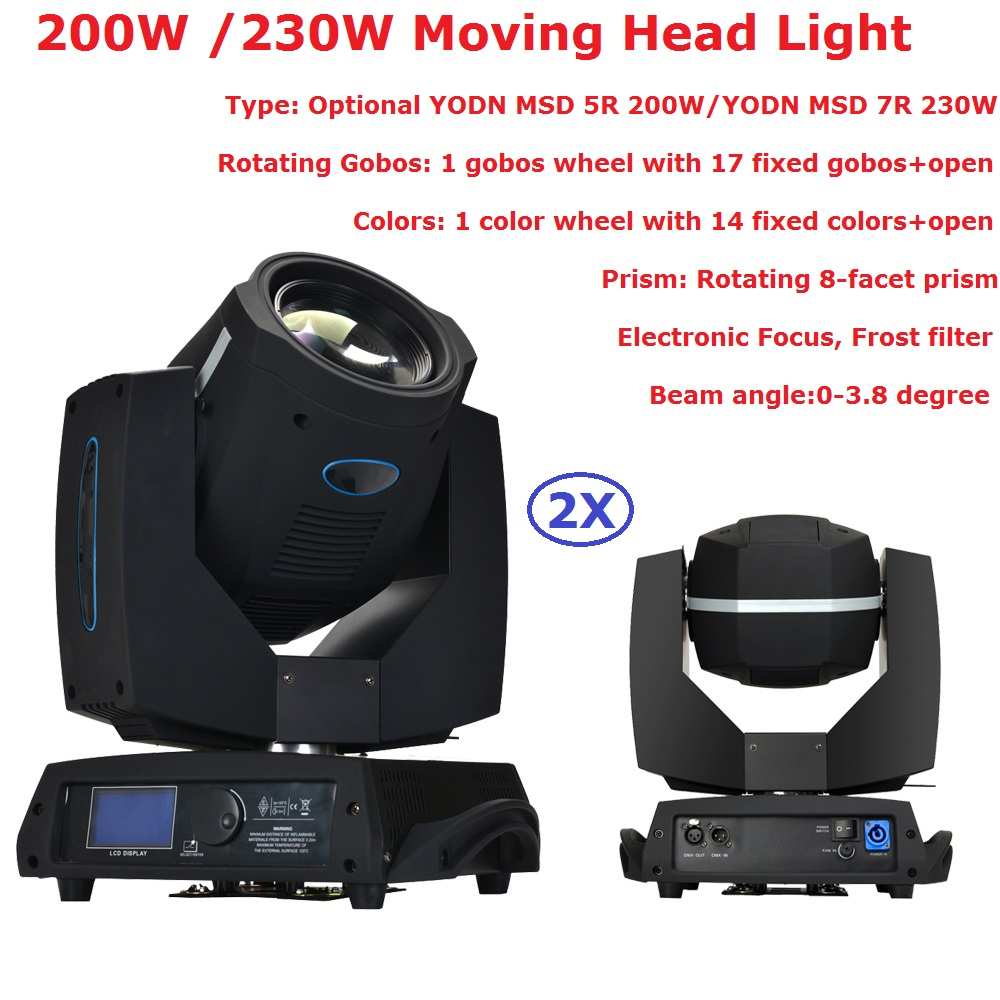 2X Professional Stage Moving Head Lights 5R 200W / 7R 230W Moving Head Beam Lights Electronic Foucus Concert Lighting Equipment