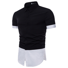 Mens short-sleeved shirt 2019 summer new brand fashion casual Slim black and white mixed-color dress