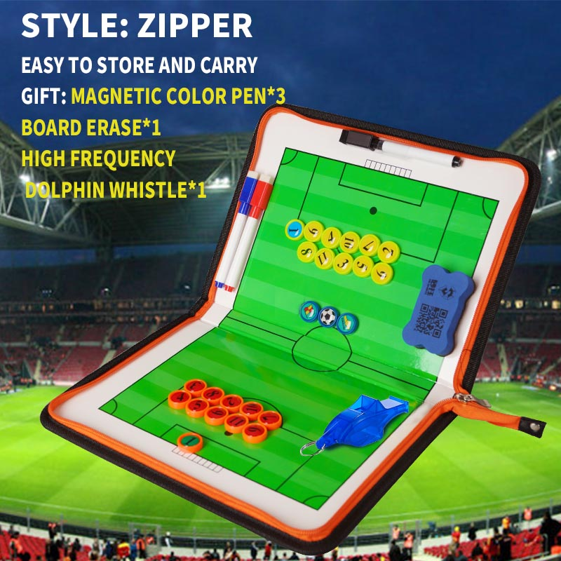 Tactical Board Soccer Basketball Zipper Coach Clipboard Basketball Double-side Board PU Material Soccer Three Fold Coach Board