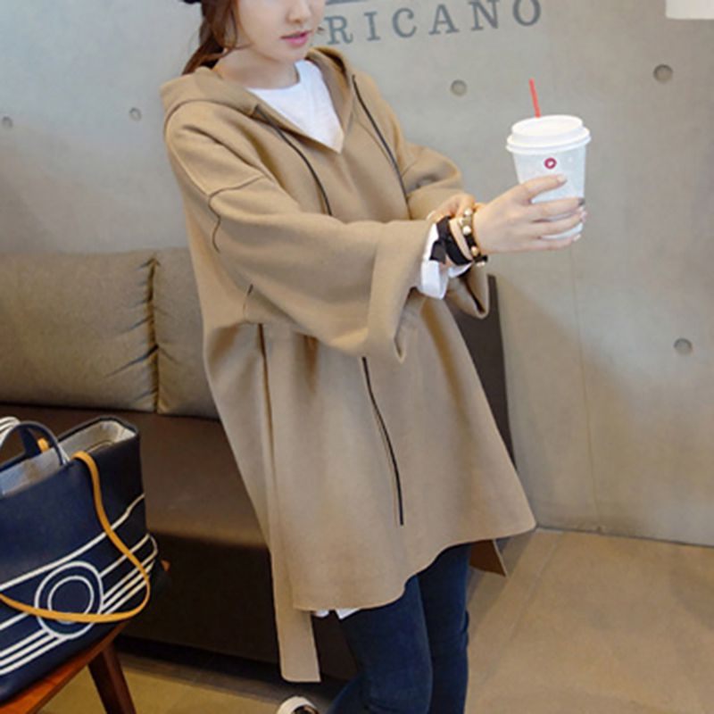 Korean Style Hooded Sweatshirts Women Autumn Winter Mid Pullover Solid Color Long Sleeve Casual Warm Loose Tops Female