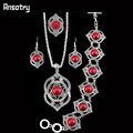 Fashion Jewelry Antique Silver Plated  Flower Assorted Color Turquoise Necklace Bracelet Earring Jewelry Sets TS185