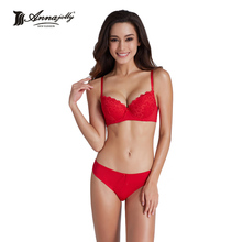 Annajolly Top Bra Sets Women Sexy Bras And Panties Push Up Brassiere Panties Briefs Red Blue Underwear Lingerie Brand New 8889