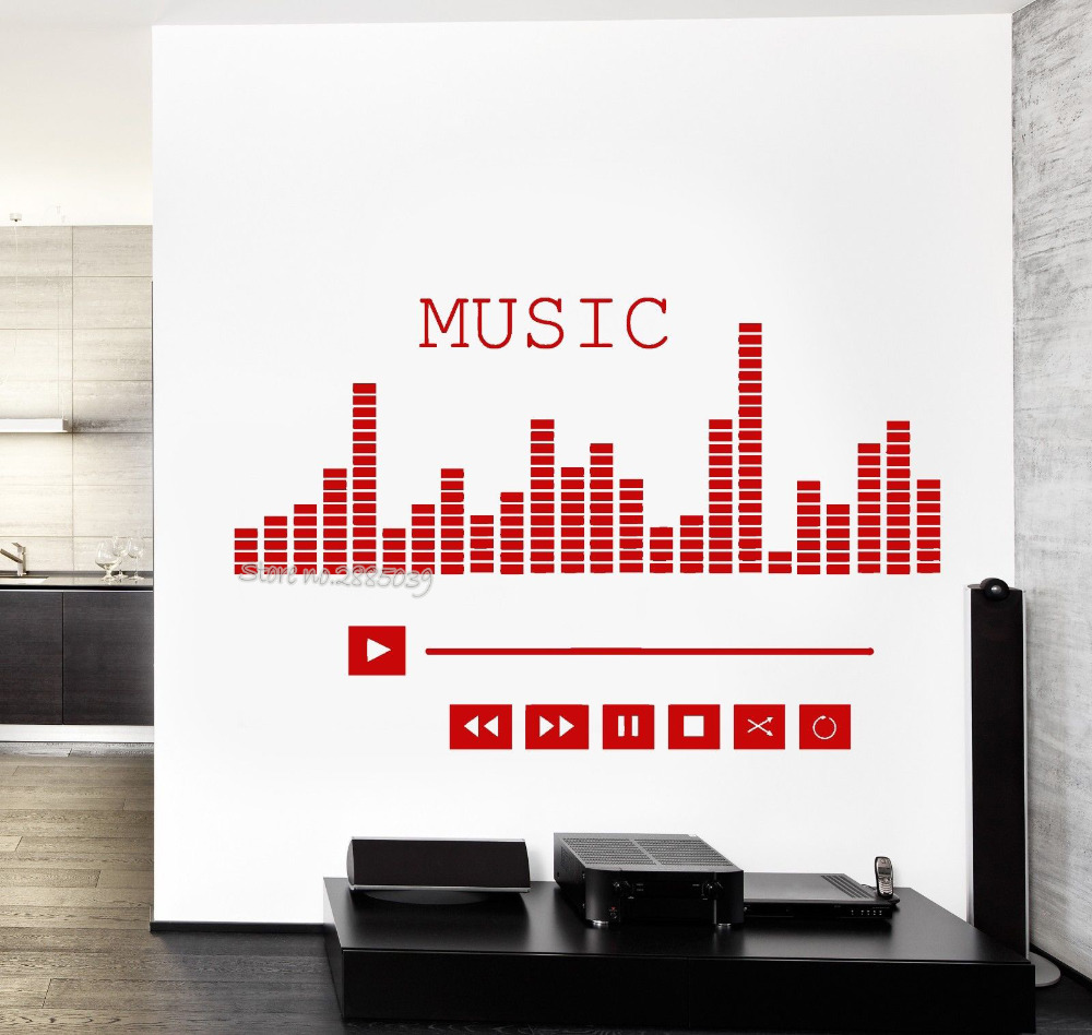 Music Player Equalizer Wall Decals Vinyl Removable Good Sound High Quality Decal Living  ...