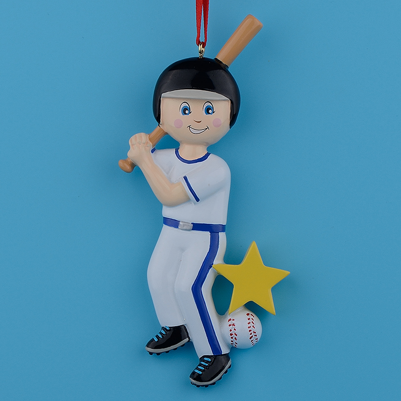 Maxora Wholesale Resin Glossy Children Baseball Boy Girl Christmas Ornaments Personalized Gifts Used For Holiday and Home Decor