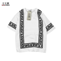 Chinese Style Summer New Vintage Religion Print Geometric Bandana T Shirt Men Short Sleeve Casual Loose