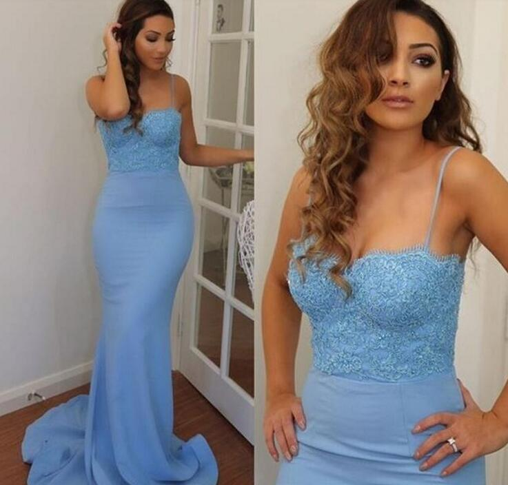 2018 Sexy Sweetheart Mermaid   Bridesmaid     Dresses   Blue Long Lady   Dress   For Wedding Party Formal   Dress   Spaghetti Straps M1753