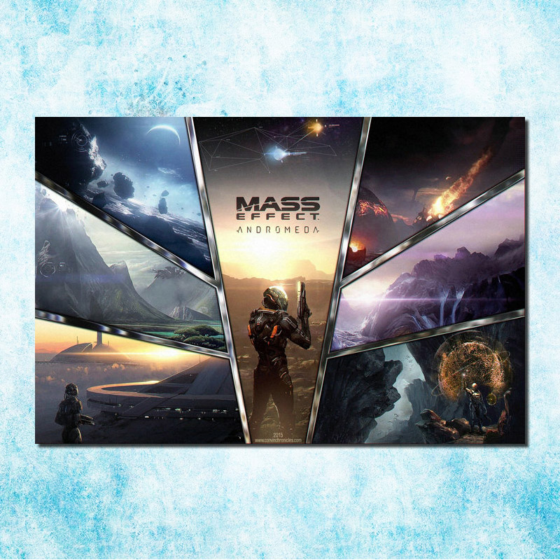 Mass Effect 2 3 4 Hot Shooting Action Game Art Silk Canvas Poster 13x20 24x36 inch Pictures For Living Room Decor (more)-6(China)