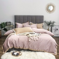 ROWBOE brand 60s Egyptian cotton light luxury comfortable bedding King size bed set embroidery duvet cover sheets pillowcase