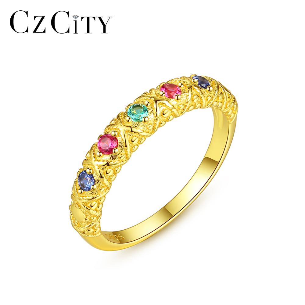 CZCITY 5 Small Topaz Gemstone Round Rings for Women Wedding Engagement Fine Jewelry 925 Sterling Silver Anillos Bijoux SR0168