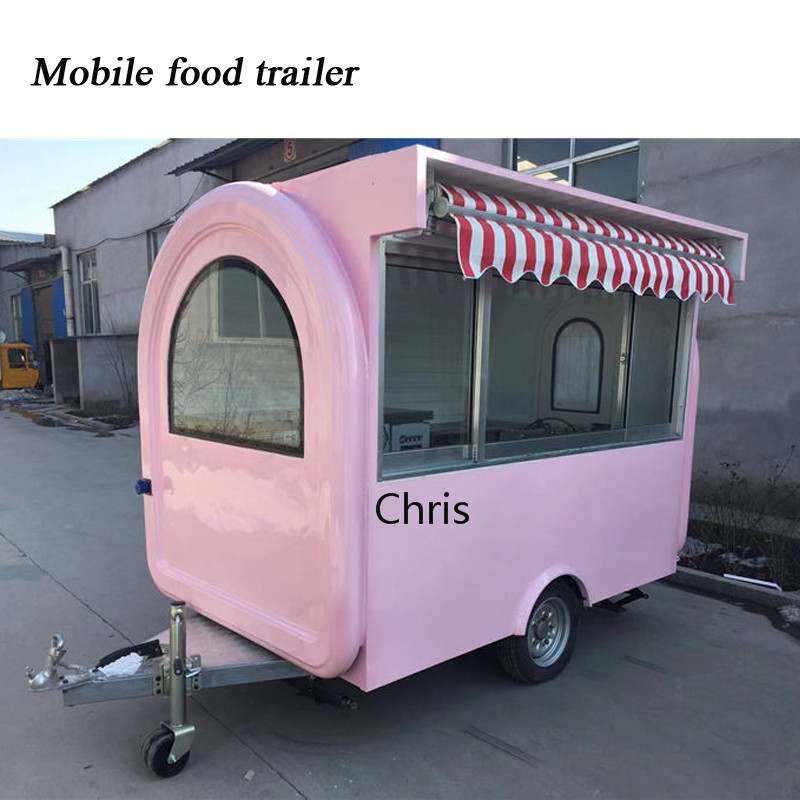 Girl Pink Color Food Cart Mobile Ice Cream Vending Cart Outdoor Food Truck For Sale