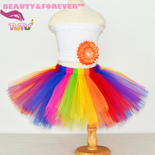 Fluffy rainbow tulle cheap skirts dancing/birthday/party girls tutu skirt