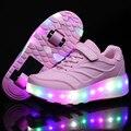 Tenis De Rodinhas Crianças Duplo Sapatos De Rolo Crianças LED flash de Luz até Sapatos Meninas Meninos Tênis Patins Rodas Removíveis