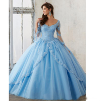 Long Sleeve Sky Blue Ball Gown Quinceanera Dresses V Neck Lace Appliques Long Sweet 16 Prom Gowns Vestidos De Quinceanera