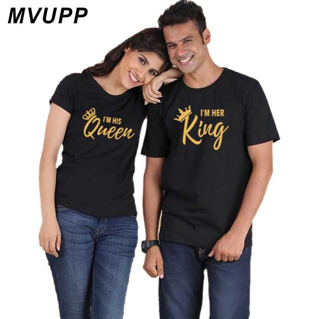 64ec494ce14 2019 NEW Fashion KING QUEEN Letter Printed Black Summer Couple Tshirts Tops  Tee Casual Cotton Short Sleeve Korean Loose Clothes