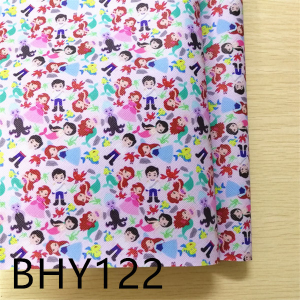 Free Shipping 7.6*12inch Cartoon Print Synthetic Leather Fabric For DIY Accessories BHY122