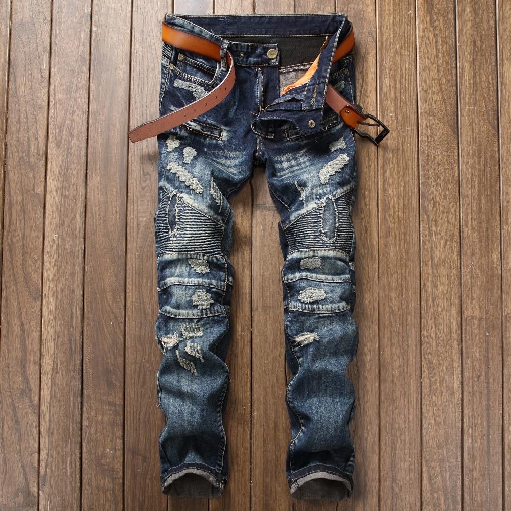 2017 New Biker Men's Zipper Ripped Jeans Men Slim Fit Straight Moto Punk Dark Long Pants Mens Jeans Pleated Holes Blue Pants 2017 men jeans biker pleated mens denim ripped jeans hip hop straight stretch zipper distressed moto slim fit pleated punk pants