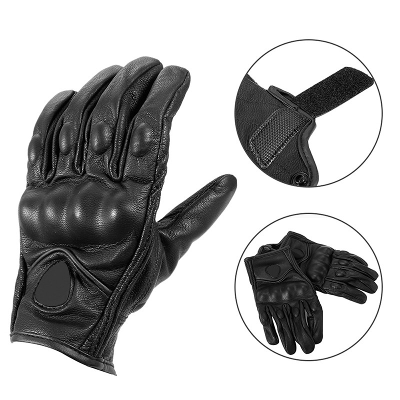 FULL LEATHER REINFORCED PALM AND KNUCKLE PROTECTION FAST MASK MOTORCYCLE GLOVE L, BLACK BANDANA PRINT