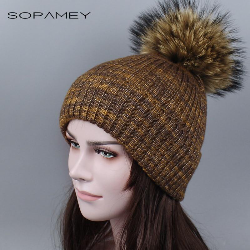 SOPAMEY winter wool knitted hat beanies real mink fur pom poms Skullies hat for women girls warm hat feminino 2017 mink skullies hat beret knitted hat women winter gorgeous 2294