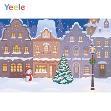 Yeele Christmas Family Photocall Cartoon Snow City Photography Backdrops Personalized Photographic Backgrounds For Photo Studio цена