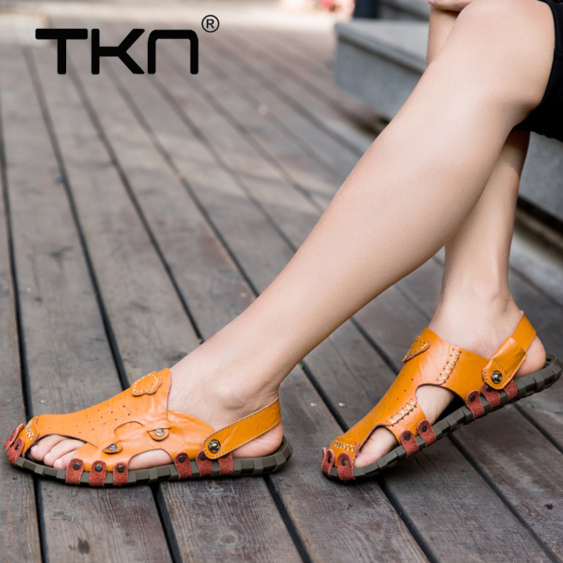 TKN 2019 Men Cow Leather Sandals Outdoor Summer Handmade Men Shoes Breathable Casual Shoes Man Footwear Walking Sandals 1002