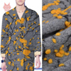 Winter New Fashion American Style Grey With Yellow Floral Jacquard Cashmere Wool Fabric For Coat Dress